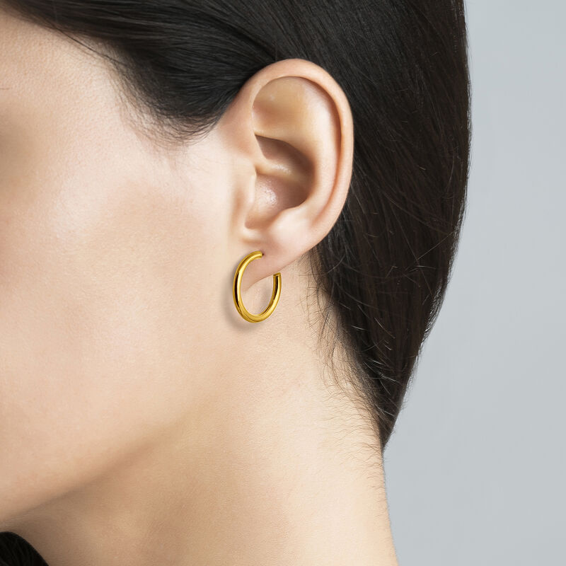 Gold smooth hoop earrings, J01587-02, hi-res