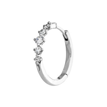Pendiente aro cinco diamantes oro blanco 0,071 ct, J04008-01-H, hi-res