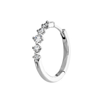 White gold five-diamond hoop earring, J04008-01-H, hi-res