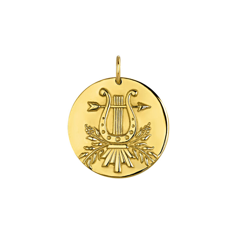 Gold plated lyre pendant, J04153-02, hi-res