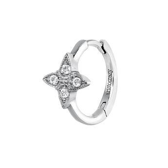 Boucle d'oreille créole croix diamant or blanc 0,024 ct, J03912-01-H, hi-res