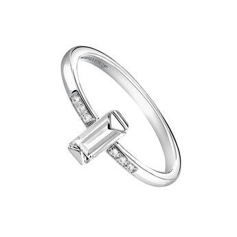 Silver rectangular stone ring, J03955-01-WT-WT, hi-res