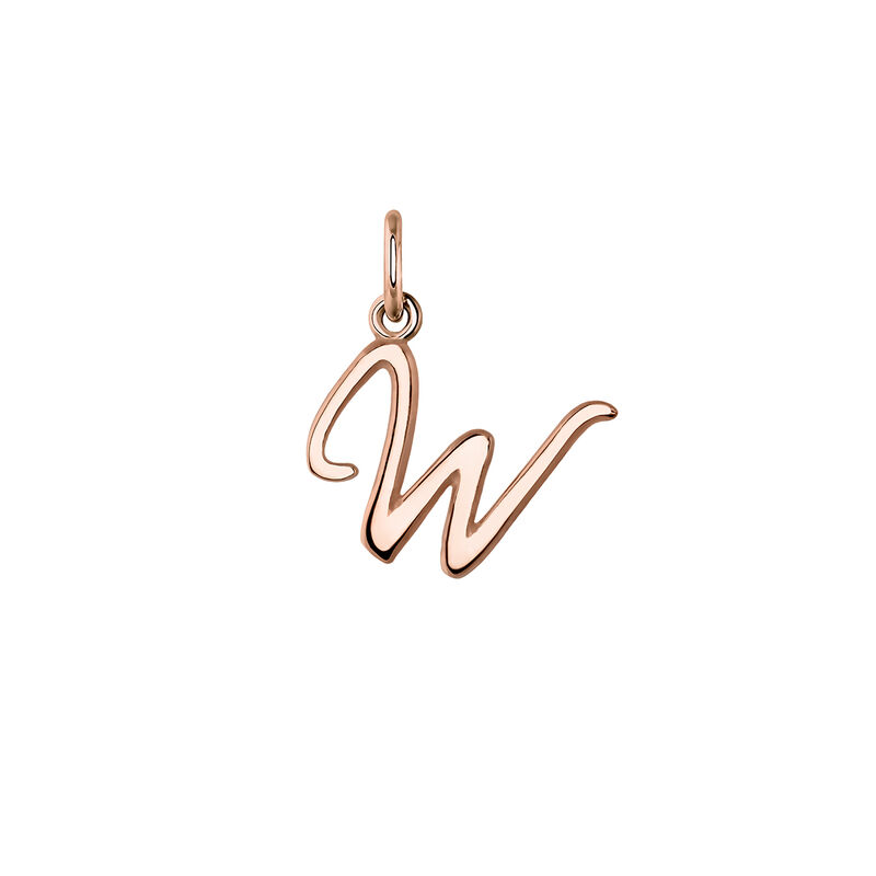 Pendentif lettre W argent plaqué or rose, J03932-03-W, hi-res