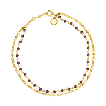 Gold rhodolite garnet double bracelet, J03620-02-RO, hi-res