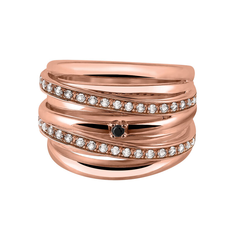 Maxi rose gold plated ring with spinels and topaz, J03352-03-WT-BSN, hi-res