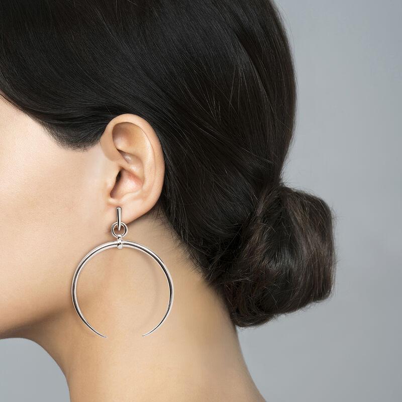 Large half-moon hoop earrings silver, J04215-01, hi-res