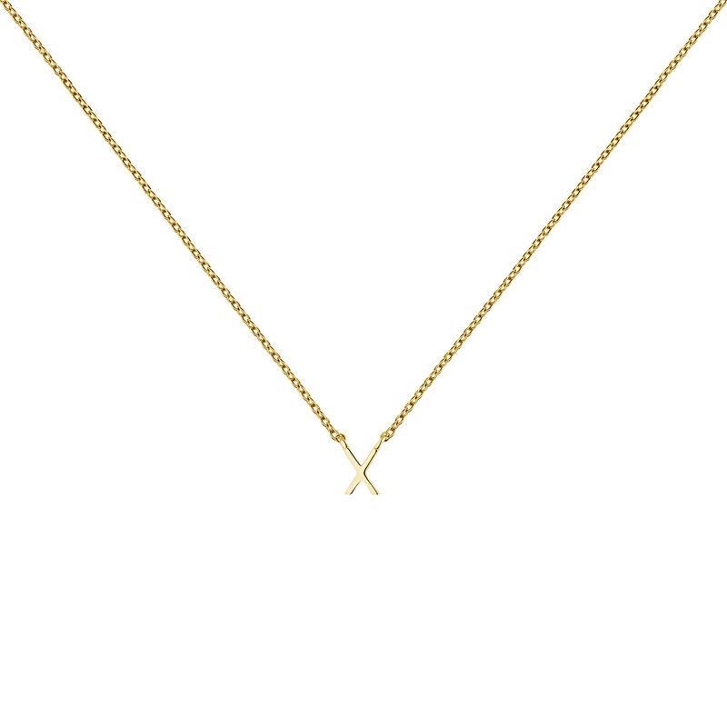 Gold Initial X necklace, J04382-02-X, hi-res