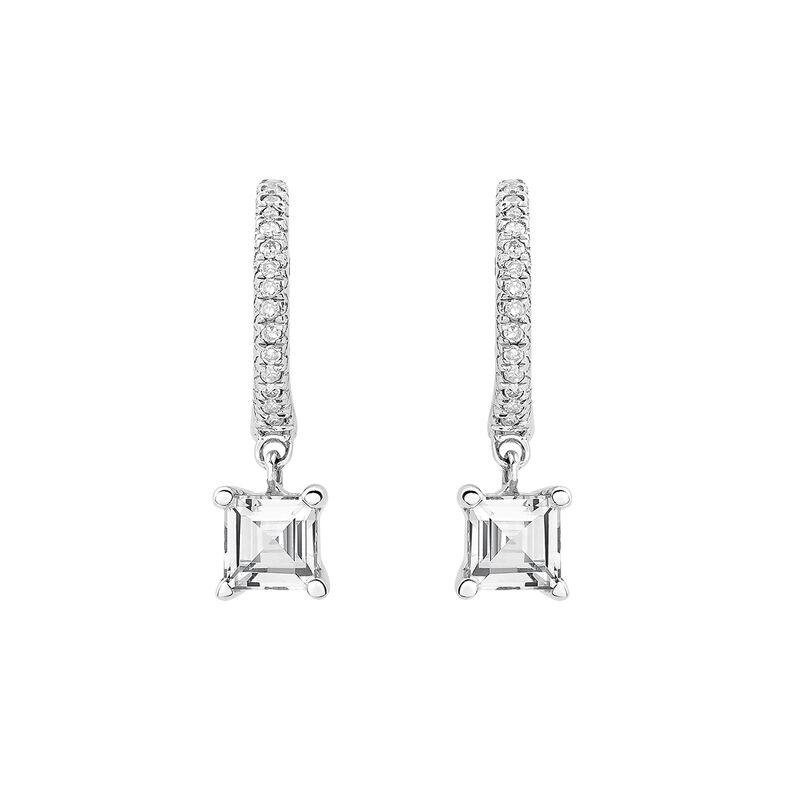Pendientes aro topacio diamantes, J03112-01-WT, hi-res