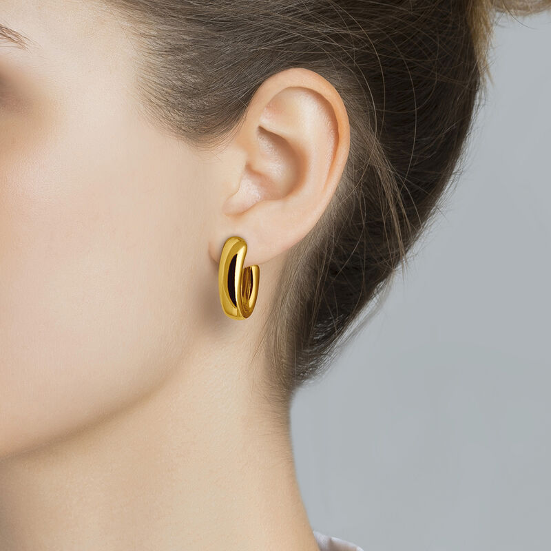 Medium gold plated oval thick earrings, J00799-02, hi-res