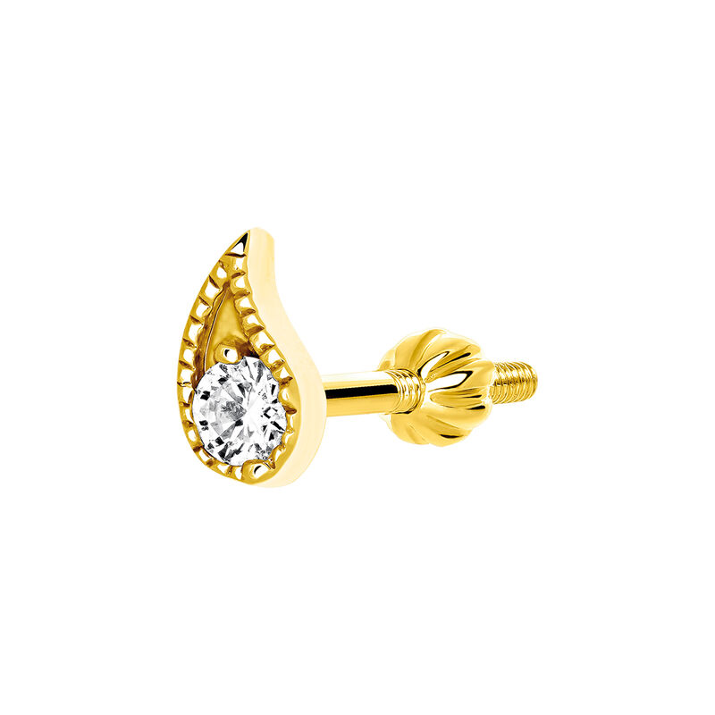 Gold diamond earring, J03385-02-H, hi-res