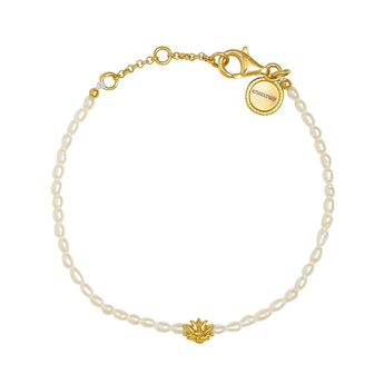 Pulsera motivo flor perla plata recubierta oro, J04470-02-WP, hi-res