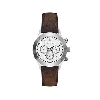 Reloj Soho marrón esfera blanca , W0029Q-STWH-LEBR, hi-res