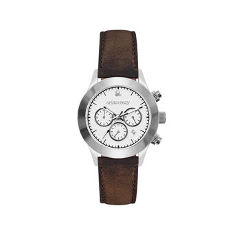 Soho watch brown strap white face. , W29A-STSTWH-LEBR, hi-res