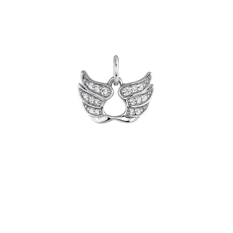Colgante alas de la suerte plata, J03824-01-WT, hi-res