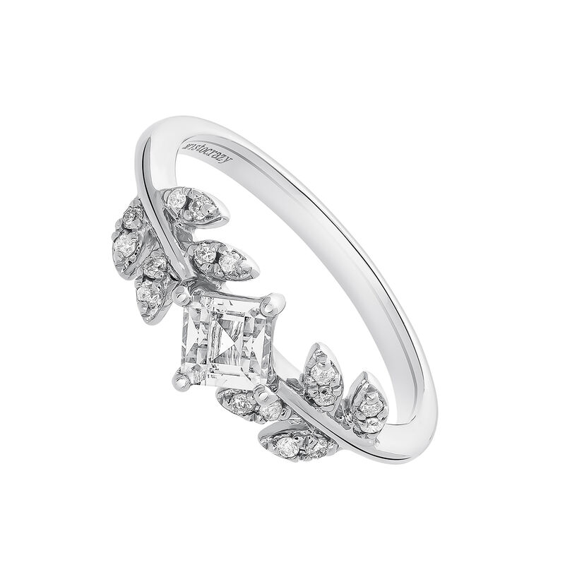 Silver diamond topaz leaf ring, J03707-01-WT-GD, hi-res