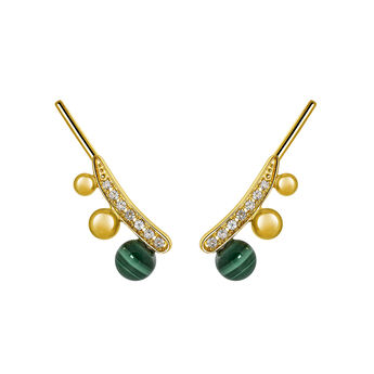 Silver Malachite Climber Earrings, J03511-02-WT-MA, hi-res