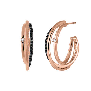 Large rose gold plated hoop earrings topaz spinels, J03355-03-BSN-WT, hi-res