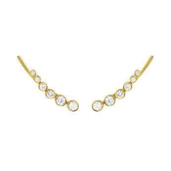 Pendientes trepadores topacio plata recubierta oro, J03669-02-WT, hi-res