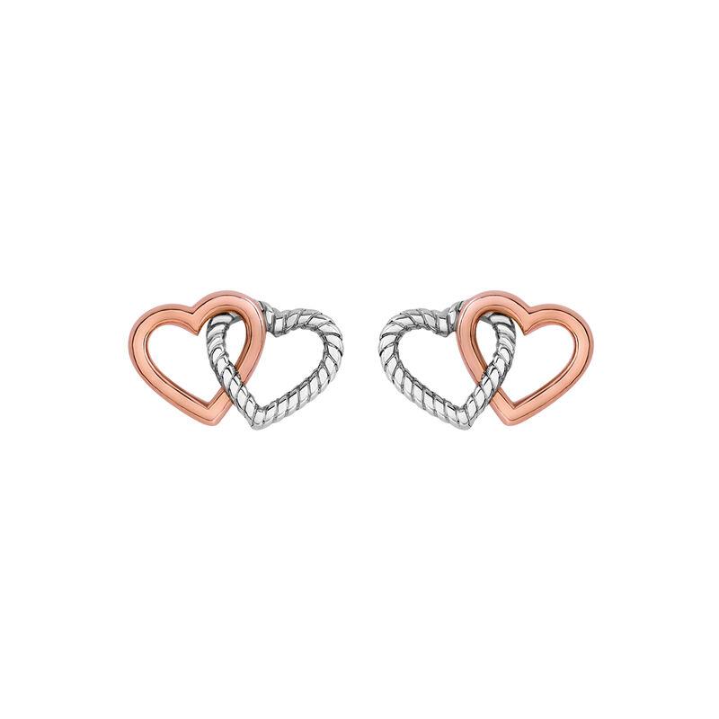 Pendientes corazón doble plata, J03192-05, hi-res