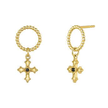 Pendientes aro cruz pequeña espinela plata recubierta oro, J04227-02-BSN, hi-res