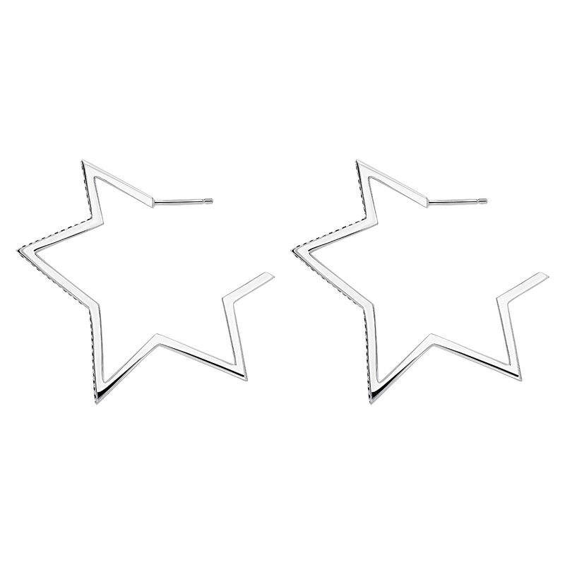 Silver big-star earrings with spinels, J03633-01-BSN, hi-res