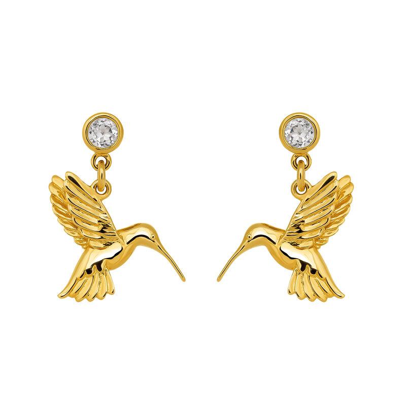 Pendientes colibrí oro con topacio, J03446-02-WT, hi-res