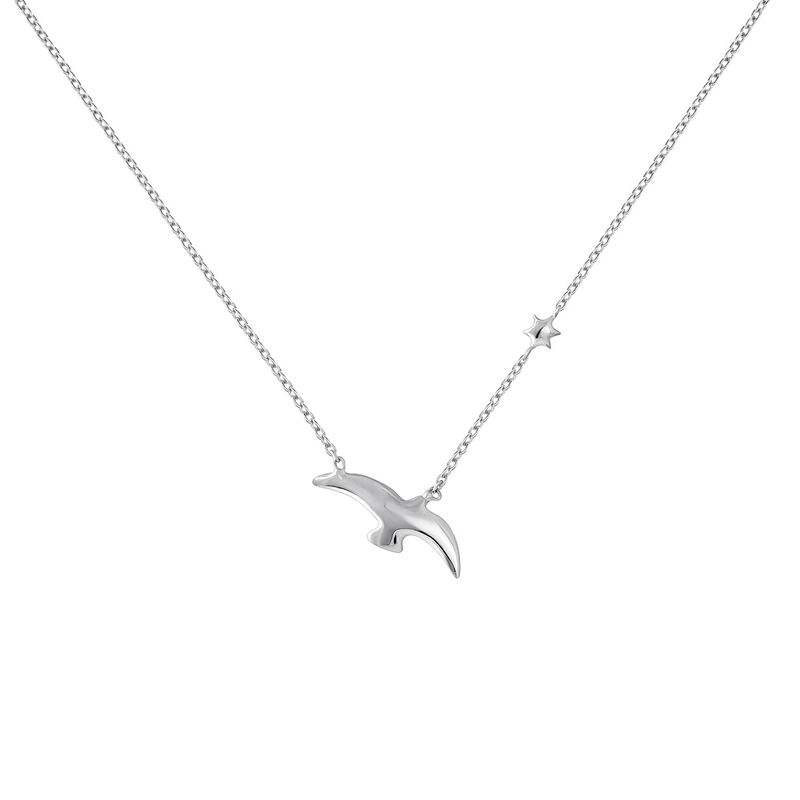 Silver bird and star motif necklace, J04604-01, hi-res
