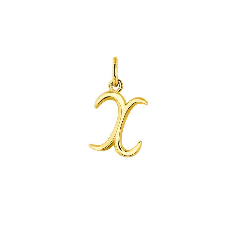 Colgante inicial X plata recubierta oro, J03932-02-X, hi-res