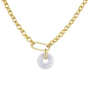 Gold plated silver blue agate motif necklace, J04759-02-BAG, hi-res