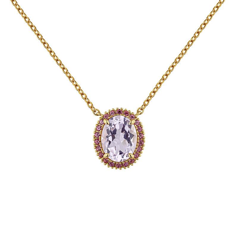 Collar amatista plata recubierta oro, J04686-02-PAM-RO, hi-res