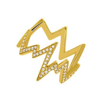Gold plated lightning-bolt ring with topaz, J03628-02-WT, hi-res