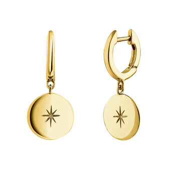 Gold plated star round motif hoop earrings, J04606-02, hi-res