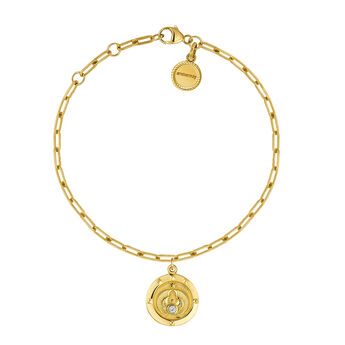 Gold plated topaz coin bracelet, J03592-02-WT, hi-res