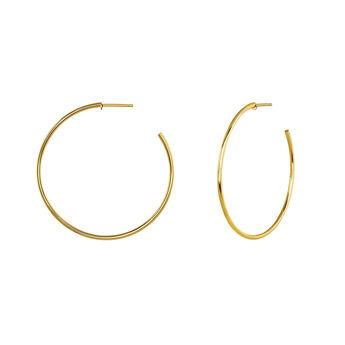 Pendientes de aro grande fino plata recubierta oro, J04191-02, hi-res