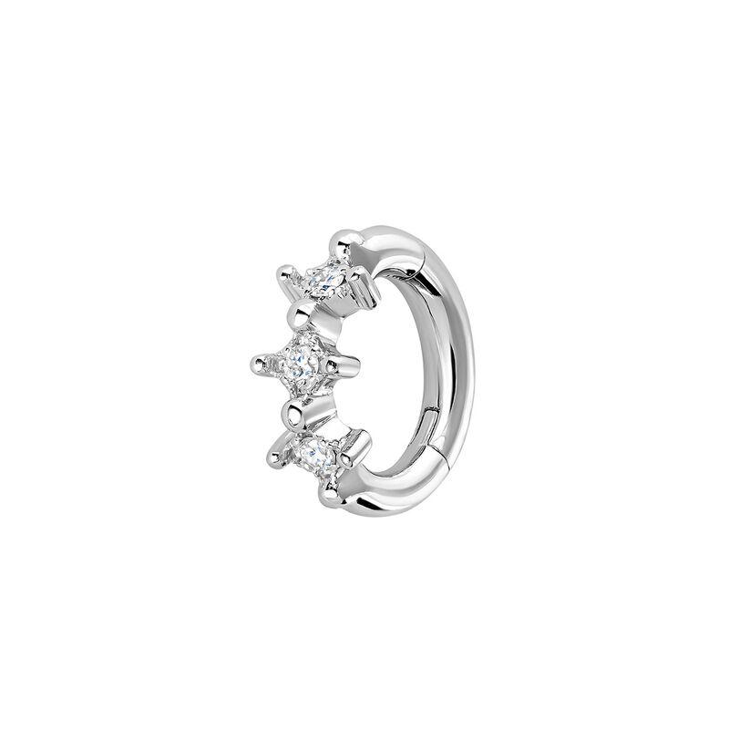 Pendiente aro piercing tres diamantes oro blanco 9kt, J04491-01-H, hi-res