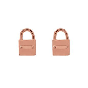 Pendientes candado oro rosa, J02052-03, hi-res