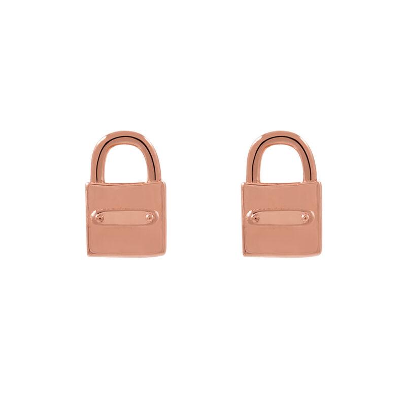 Rose gold lock earrings, J02052-03, hi-res