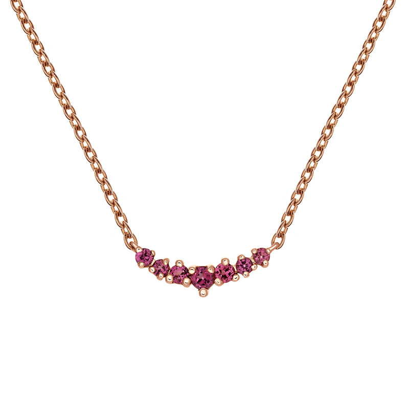 Rose gold rhodolite garnet necklace, PINKGOLDPLATED STERLING SILVER, hi-res