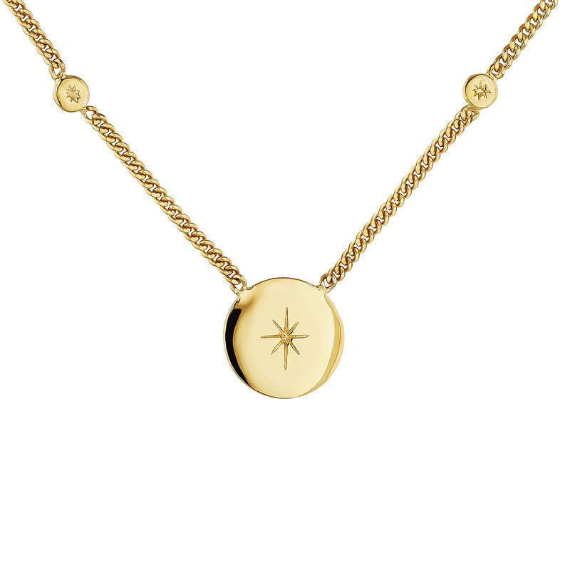 Collier en argent plaqué or jaune avec motif étoile ronde, J04601-02, hi-res