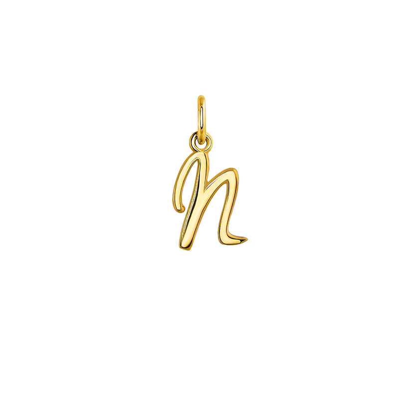 gold plated initial N necklace, J03932-02-N, hi-res