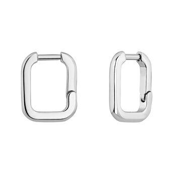 Boucles d'oreilles carrées argent , J04649-01, hi-res
