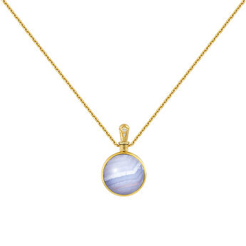 Small gold plated blue agate necklace, J04125-02-BLAG-WT, hi-res