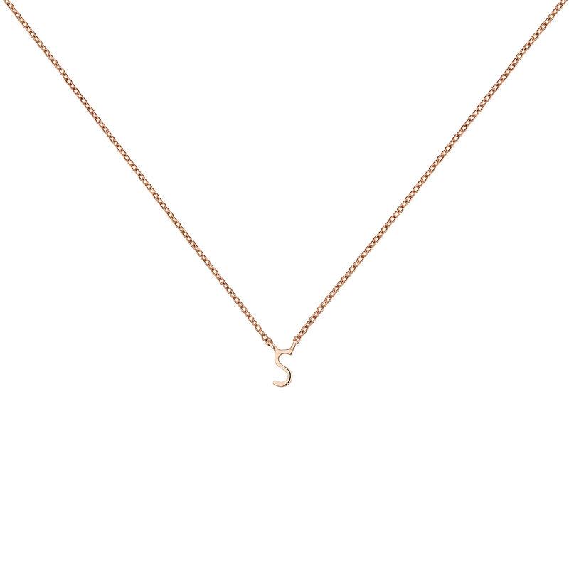 Rose gold Initial S necklace, J04382-03-S, hi-res