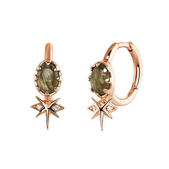 Rose-Gold Star Bohemian Hoop Earring, J03899-03-LA-WT, hi-res