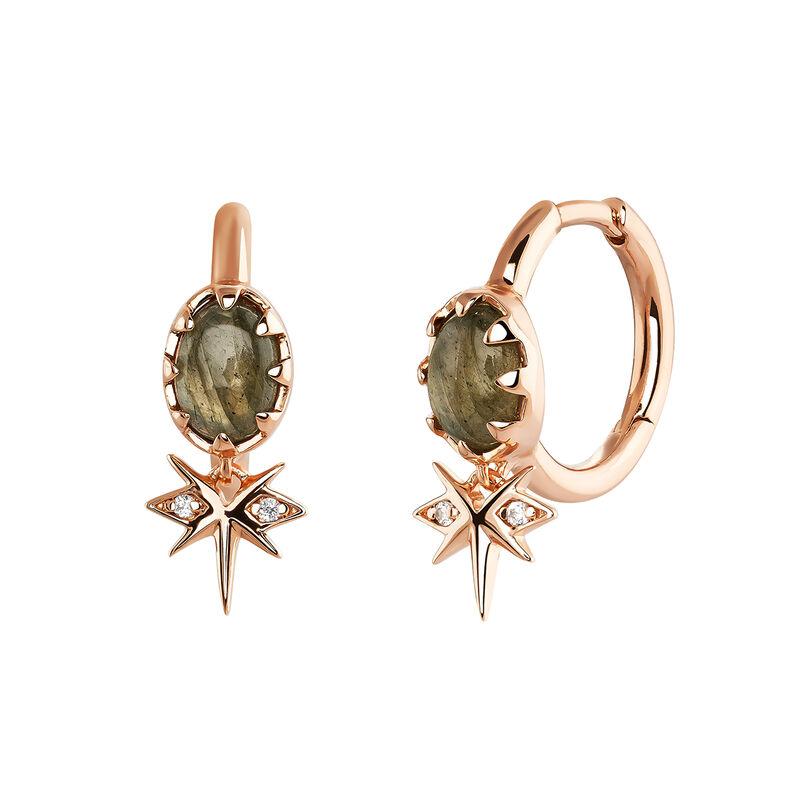 Rose-Gold Star Bohemian Hoop Earring, J03899-03-LA-WT, hi-res