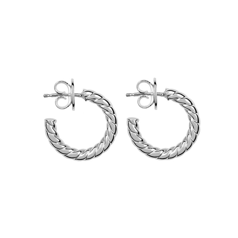 Silver cabled mini hoop earrings, J01586-01, hi-res