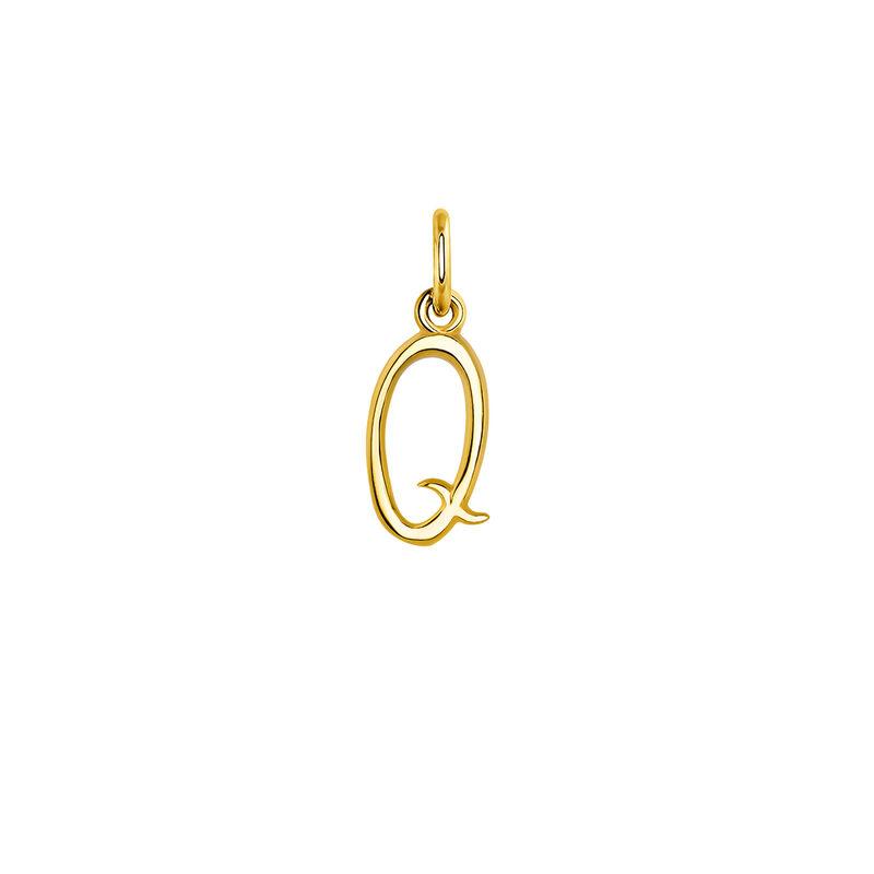 Pendentif lettre Q argent plaqué or, J03932-02-Q, hi-res