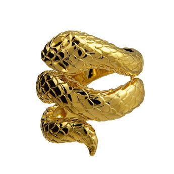 Bague serpent ouverte argent plaqué or, J00305-02, hi-res