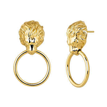 Gold plated lion earrings, J04238-02, hi-res