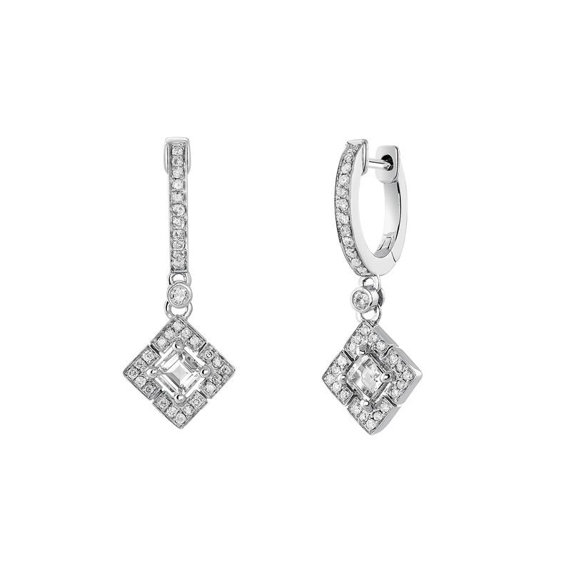 Silver topaz and diamond square hoop earrings, J03768-01-WT-GD, hi-res